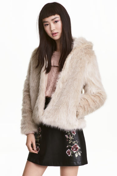 Hooded faux fur jacket - Light beige -  | H&M CA