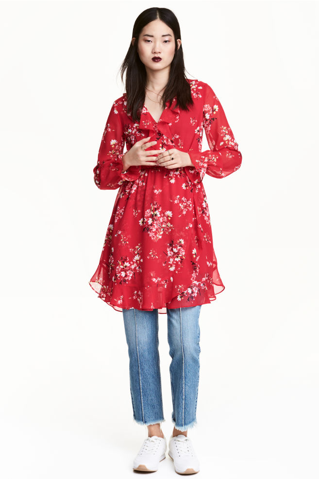 9750a3f20486 Wrap dress - Red/Floral - | H&M ...