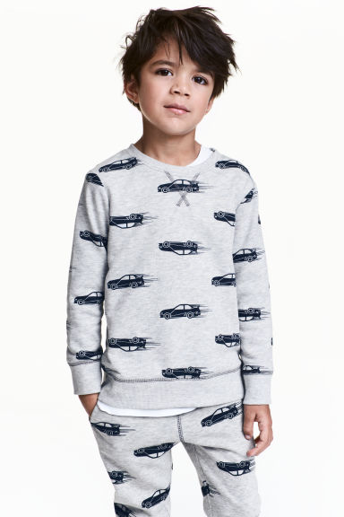 Sweatshirt - Grey/Cars - Kids | H&M CN