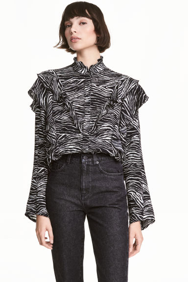 Patterned frilled blouse - Zebra print - Ladies | H&M