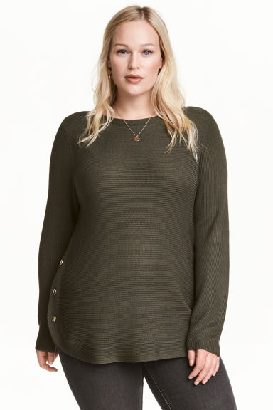 H&M+ Jumper with metal buttons - Dark Khaki -  | H&M CN
