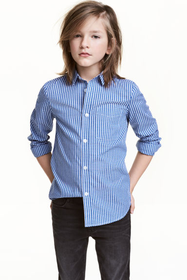 Easy-iron shirt - Blue/Checked - Kids | H&M IE