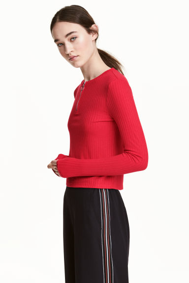 Ribbed jersey top - Red - Ladies | H&M CN