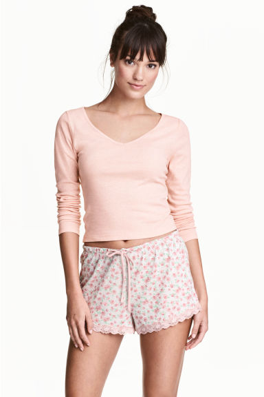 2-pack pyjama shorts - Pink/Small floral - Ladies | H&M CN