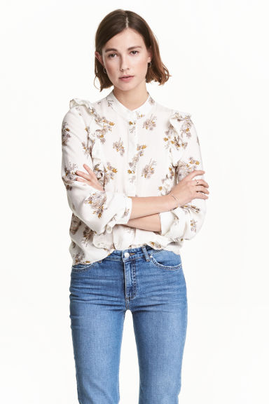 Patterned blouse - White/Floral -  | H&M