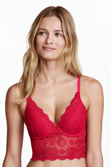 Bralette in pizzo - Rosa lampone -  | H&M CH