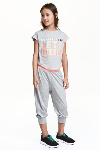 3/4-length sports trousers - Grey marl - Kids | H&M