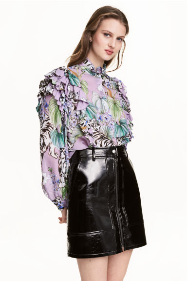 Frilled blouse - Purple/Tigers - Ladies | H&M GB