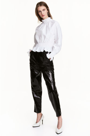 Patent trousers - Black - Ladies | H&M CN