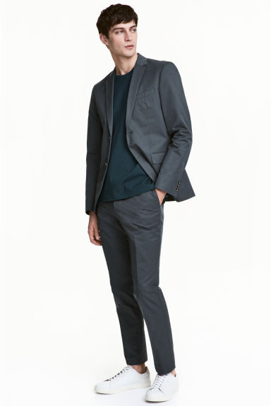Cropped suit trousers Slim fit - Grey green - Men | H&M CN