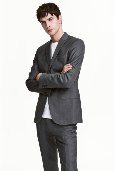Wool jacket Slim fit - Dark grey - Men | H&M CN