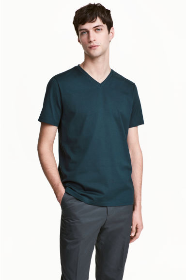 Premium cotton T-shirt - Dark petrol -  | H&M GB