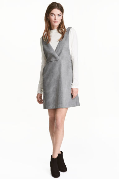 V-neck dress - Grey/Pinstripe -  | H&M