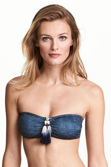 Bandeau bikini top - Dark denim blue - Ladies | H&M