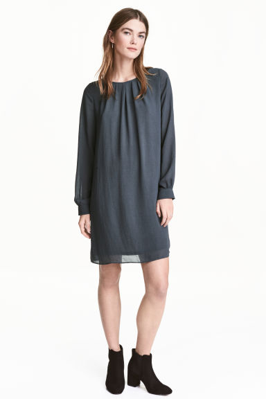 Chiffon dress - Dark grey - Ladies | H&M CN