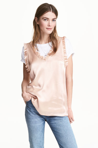 Blouse with a flounce - Powder - Ladies | H&M CN