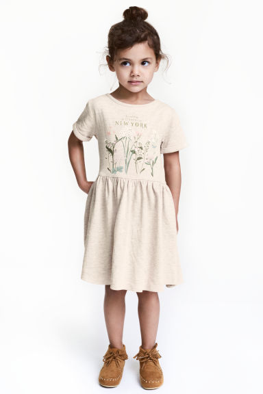 Sweatshirt dress - Light beige/New York -  | H&M CN