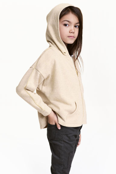 Sweat ample à capuche zippé - Beige clair/scintillant -  | H&M FR