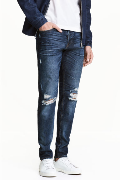 Slim Jeans - Dark denim blue/Trashed - Men | H&M CA