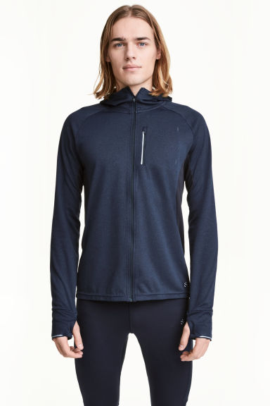 Hooded running jacket - Dark blue marl - Men | H&M CN