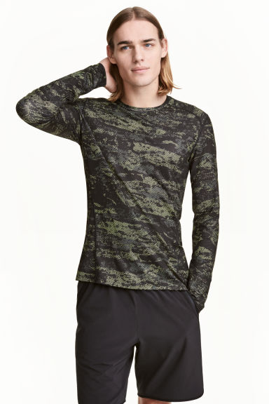 Sports top - Neon green/Patterned - Men | H&M
