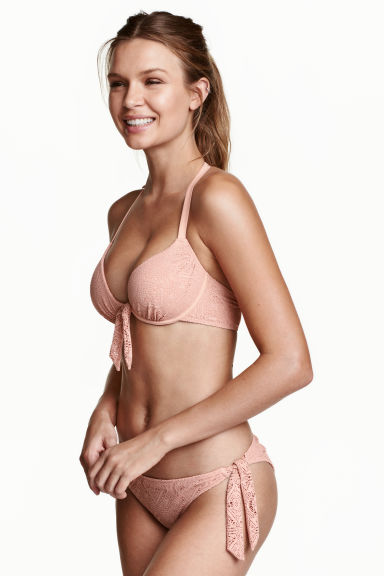 Lace tanga bikini bottoms - Old rose - Ladies | H&M CN