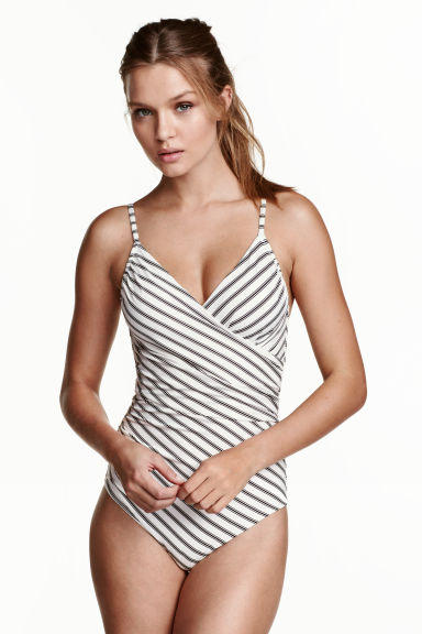 Shaping swimsuit - White/Black striped - Ladies | H&M