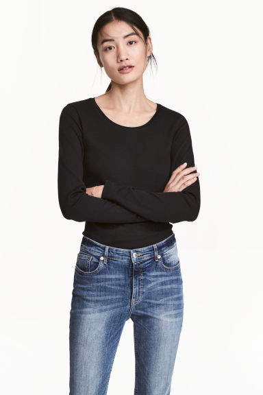Long-sleeved jersey top - Black - Ladies | H&M CN