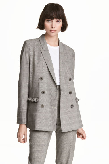 Jacket with frill details - Grey/Checked - Ladies | H&M GB