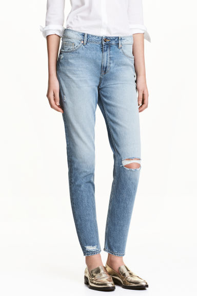 Girlfriend Trashed Jeans - Niebieski denim -  | H&M PL