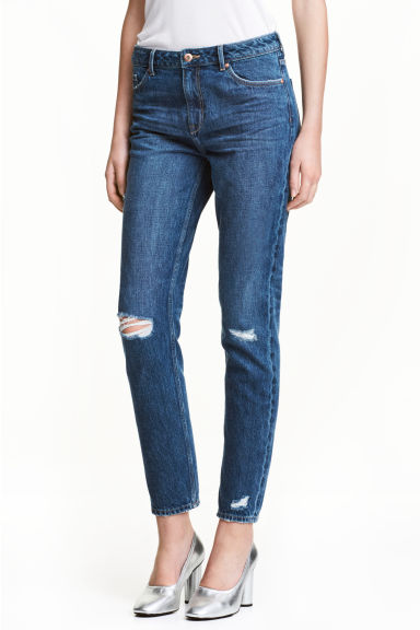 Girlfriend Trashed Jeans - Ciemnoniebieski denim -  | H&M PL