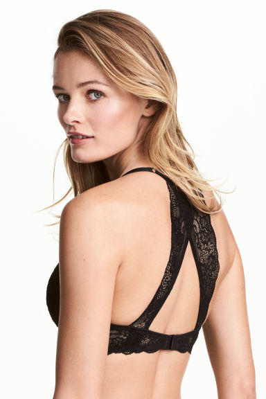 Push-up bra with a lace back - Black -  | H&M CN