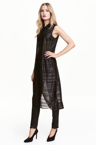 Sheer dress - Black/Glitter - Ladies | H&M
