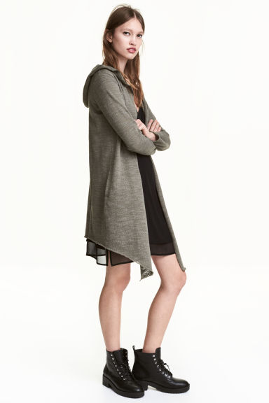 Hooded cardigan - Khaki green - Ladies | H&M CN