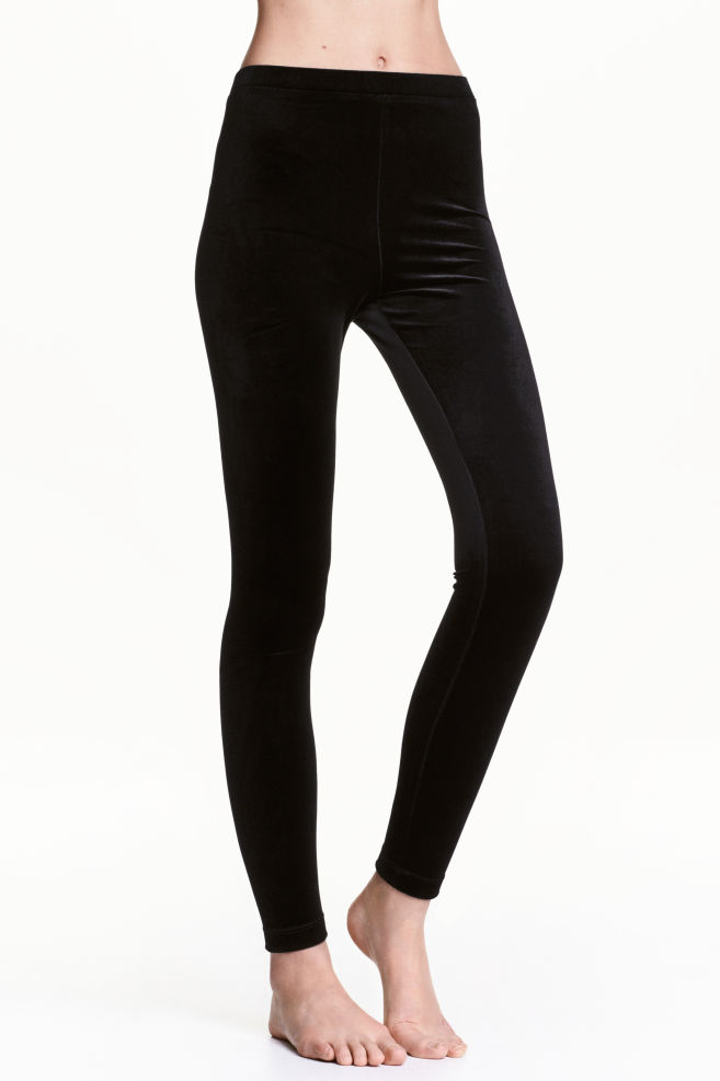 e213ed23d107a5 Velour leggings - Black - Ladies | H&M ...