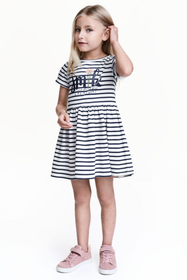 Sweatshirt dress - White/Dark blue/Striped - Kids | H&M CN