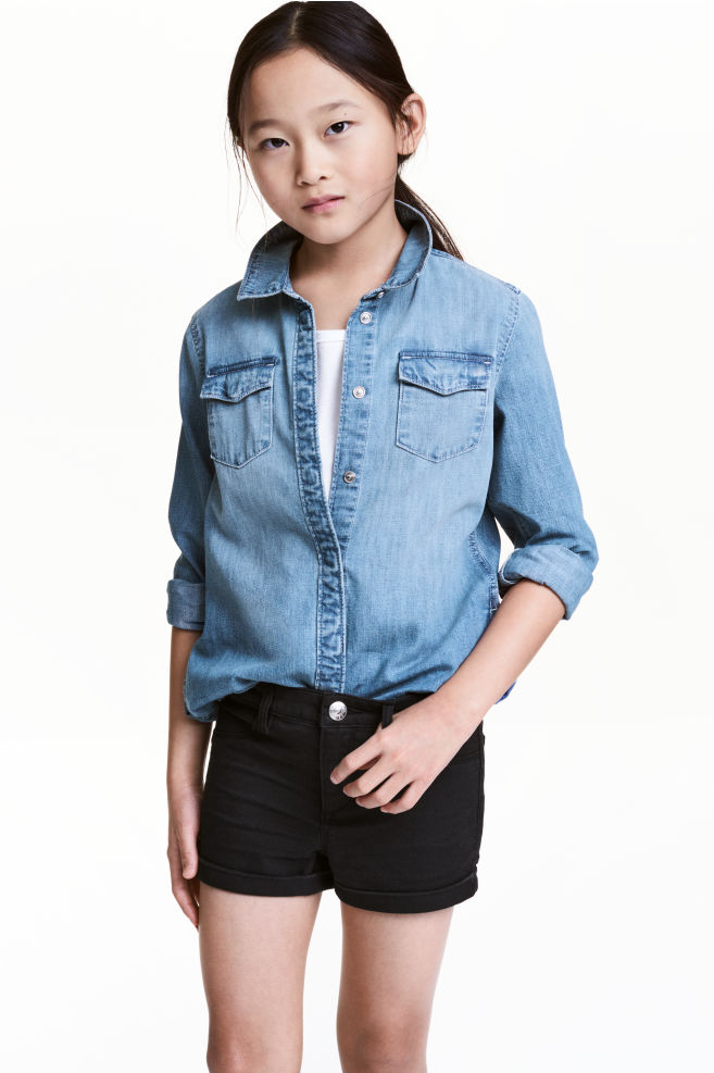 e7348f7ace Long denim shirt - Denim blue - Kids
