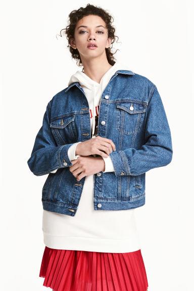veste en jean bleu denim fonc femme h m fr. Black Bedroom Furniture Sets. Home Design Ideas