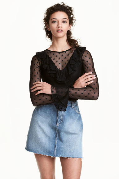 Mesh frilled top - Black - Ladies | H&M CN