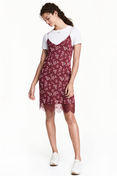 Slip dress - Burgundy/Floral - Ladies | H&M GB