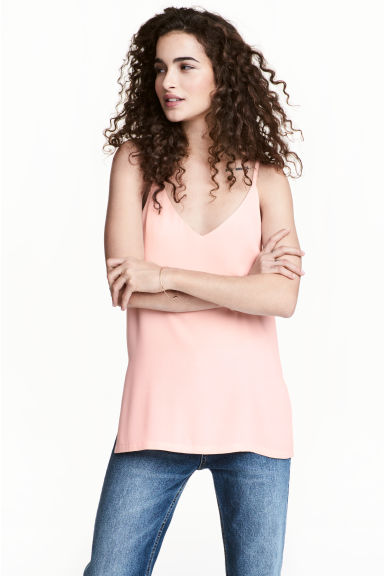 V領細肩帶上衣 - Light pink - Ladies | H&M