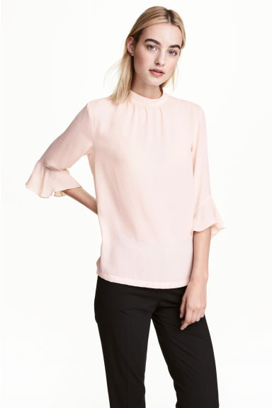 Blouse with flounced sleeves - Powder pink -  | H&M