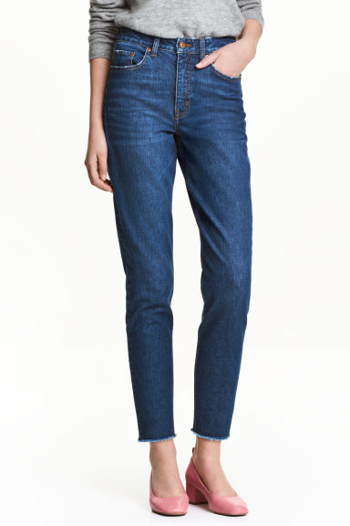 Slim Mom Jeans - Ciemnoniebieski denim -  | H&M PL