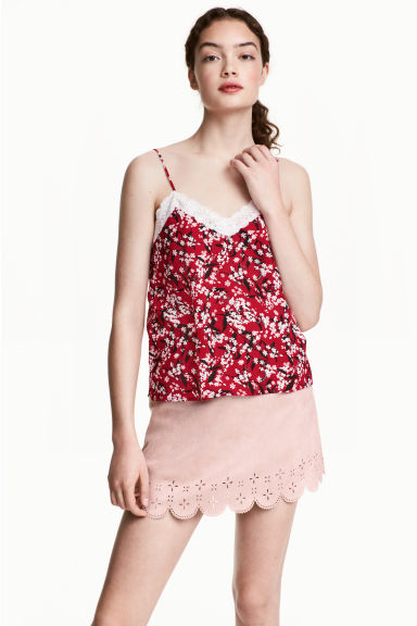 Strappy top with lace - Dark red/Floral - Ladies | H&M IE