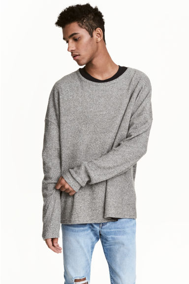 棉質混紡上衣 - Grey marl - Men | H&M