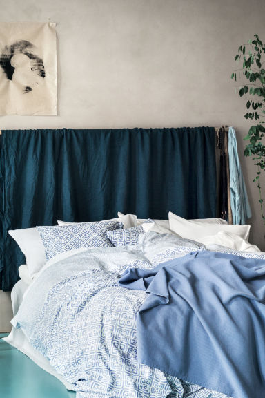 Patterned duvet cover set - Pigeon blue - Home All | H&M GB