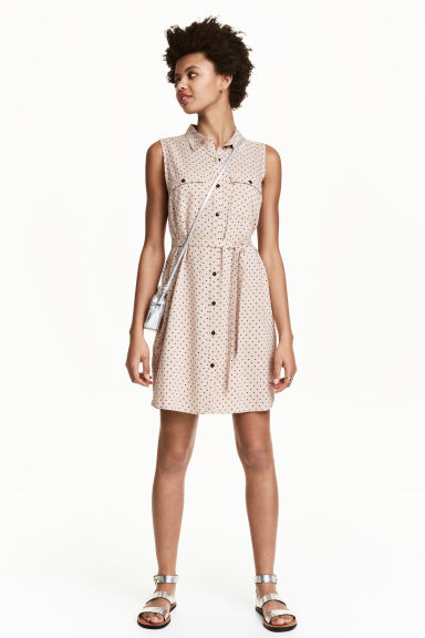 Sleeveless shirt dress - Beige -  | H&M CN