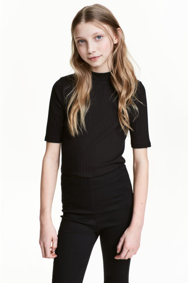Ribbed top - Black -  | H&M