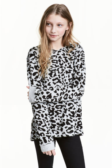Hooded top - Grey/Leopard print - Kids | H&M CN
