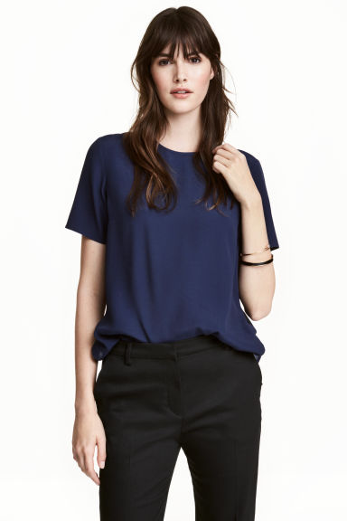Short-sleeved top - Dark blue - Ladies | H&M CN